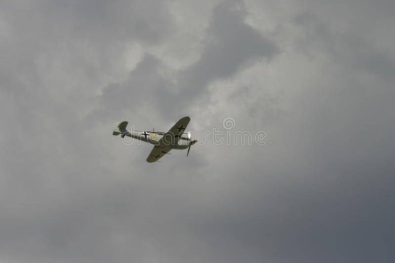 Messerschmitt BF 109 spanish German WW2 single seat fighter. Messerschmitt BF 109 spanish German single seat WW2 fighter as seen in the Battle of Britain film royalty free stock images