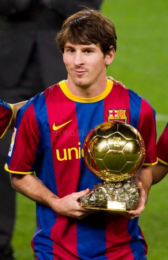 Messi met de Gouden Toekenning van de Bal stock fotografie