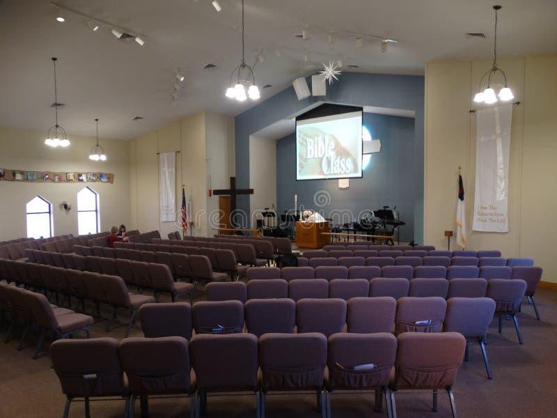 Messiah Lutherankyrka och förträning på Eagle Creek arkivfoto