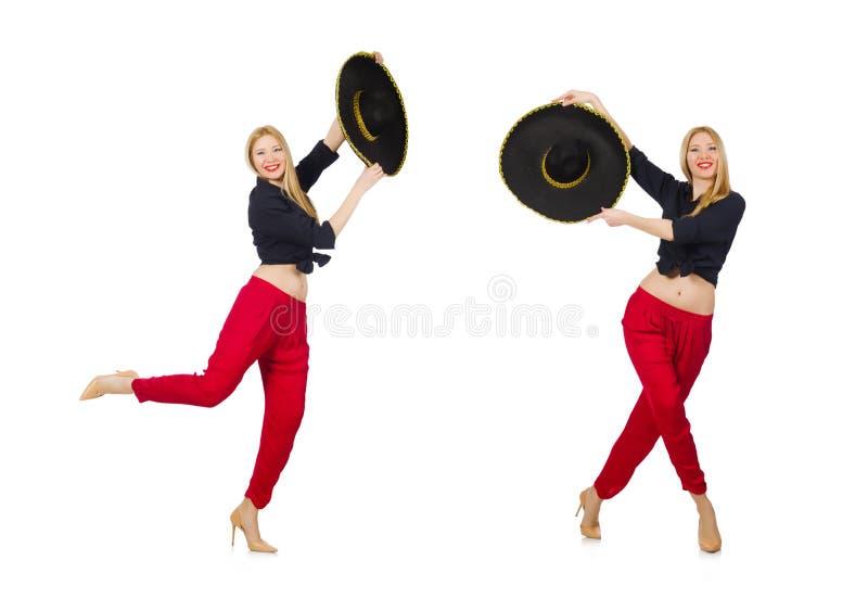 Messicano divertente con il cappello del sombrero fotografia stock libera da diritti