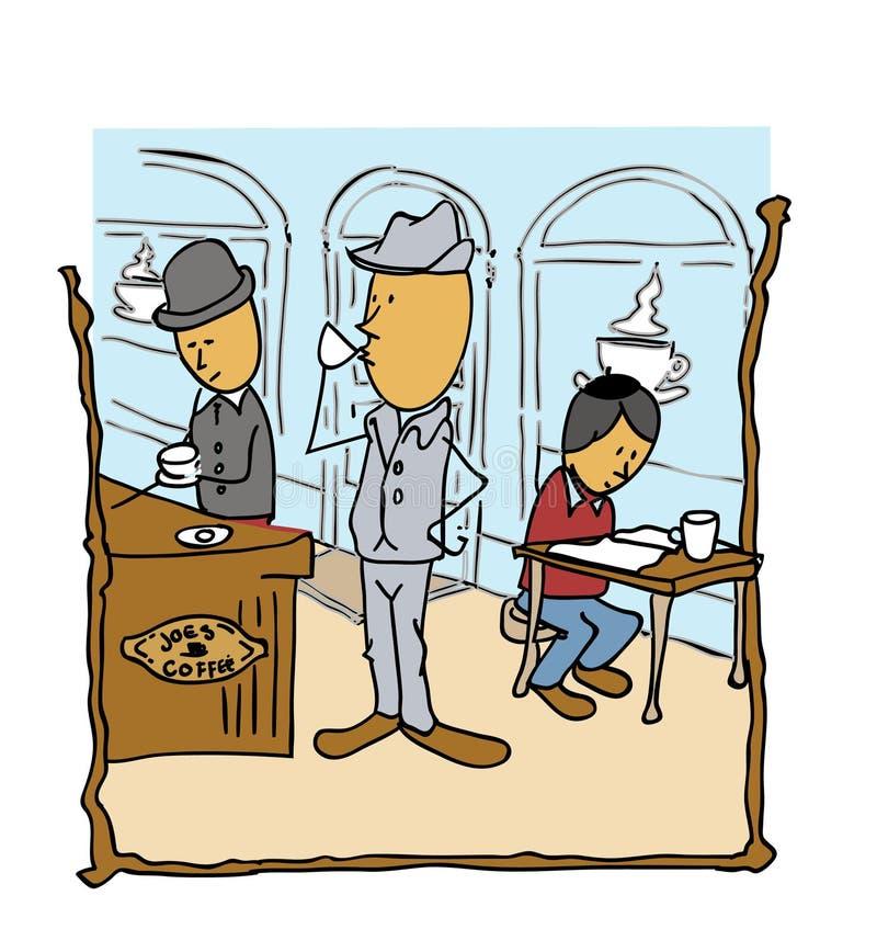 Messieurs de café de wagon-restaurant buvant du café lisant le papier illustration de vecteur