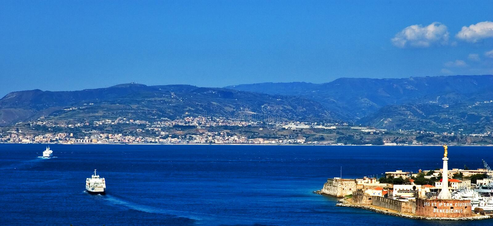 Messina strait view. View of Messina strait with ferries and port stock photography