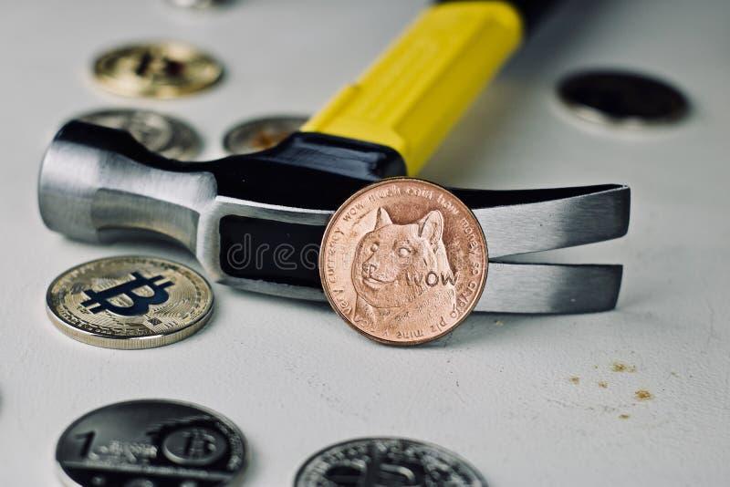 Messing-dogecoin Münze und Hammer lizenzfreie stockbilder