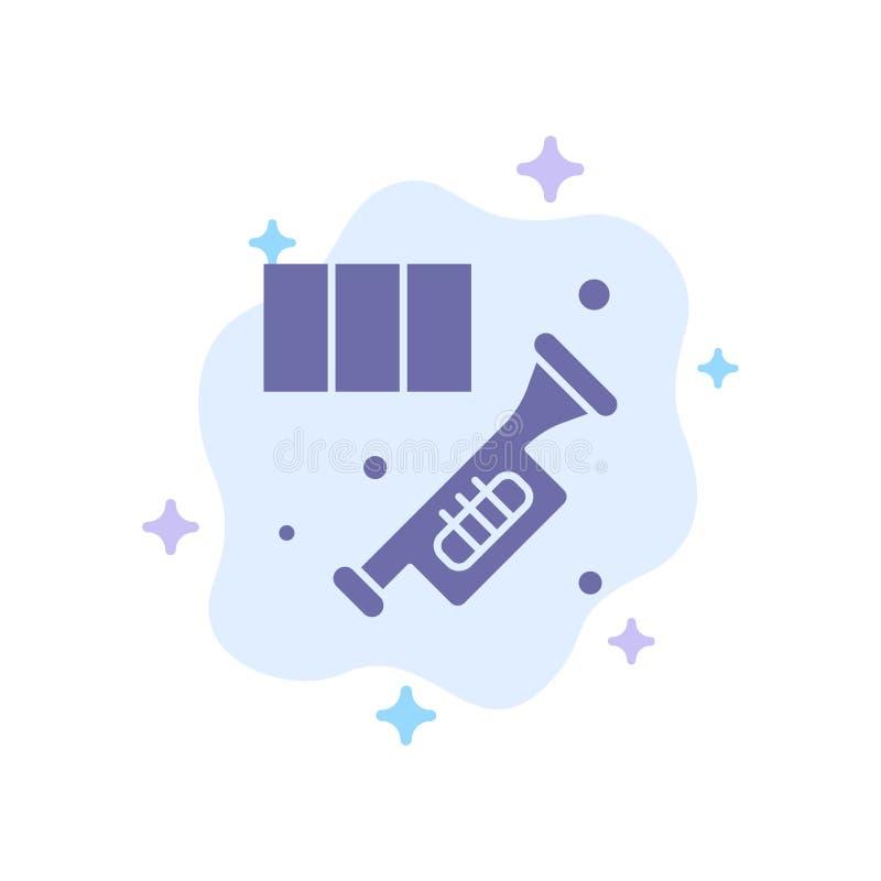Messing, Horn, Instrument, Musik, Trompeten-blaue Ikone auf abstraktem Wolken-Hintergrund vektor abbildung