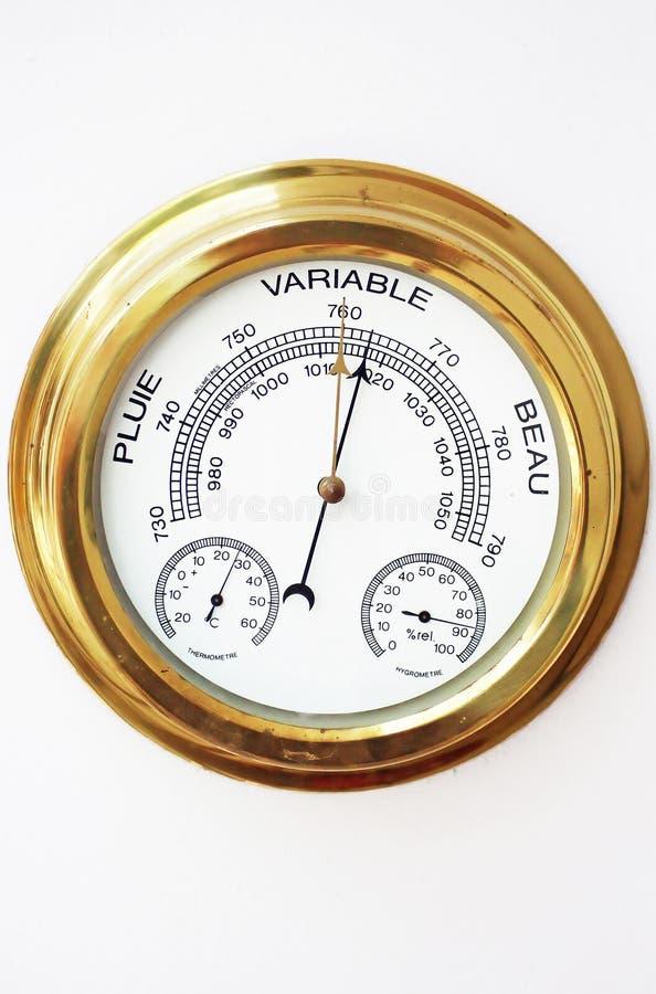 Messingbarometer, Thermometer, Hygrometer mit Laterne stockbild