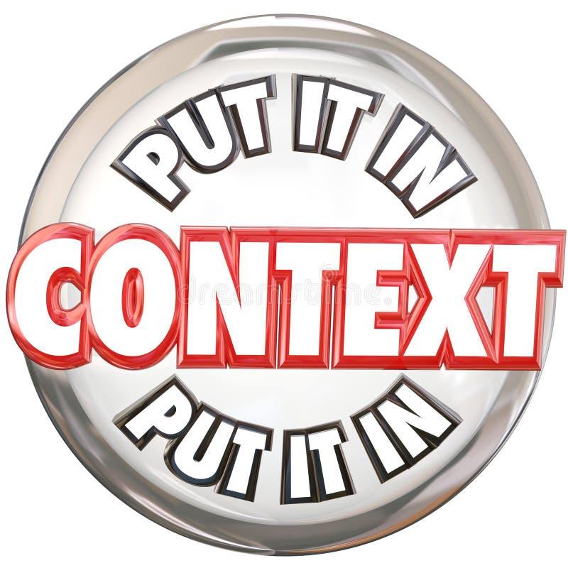 Messo in bottone di parole di contesto 3d capisca il significato illustrazione vettoriale