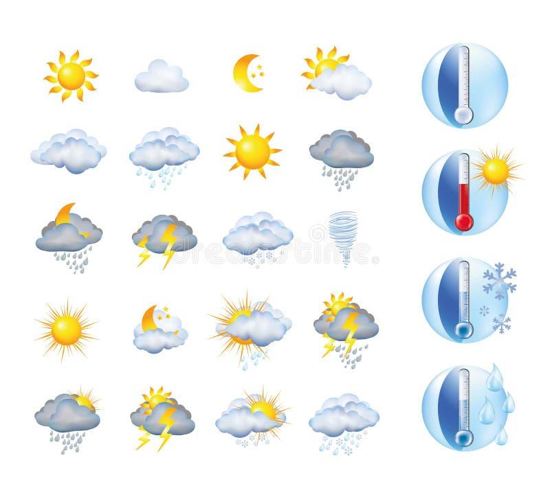 Messo con i segni delle illustrazioni di previsioni del tempo e del termometro e la meteorologia ed il clima di simboli illustrazione di stock