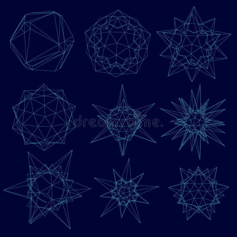 Messo con un wireframe delle forme geometriche delle forme diverse dalle linee blu su un fondo scuro Illustrazione di vettore illustrazione di stock