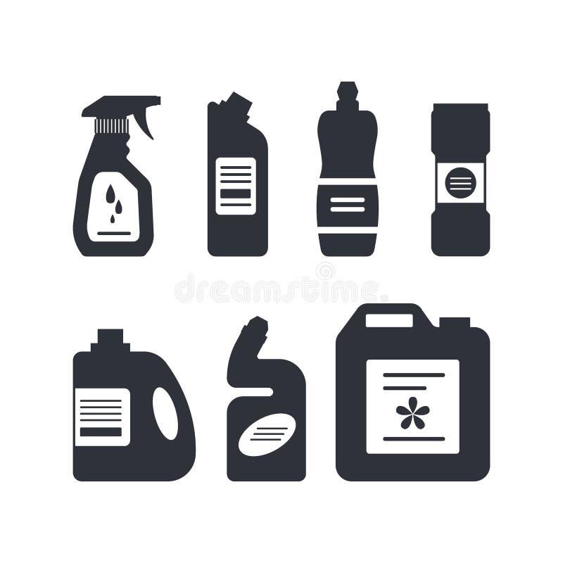 Messo degli strumenti di pulizia nei prodotti monocromatici di colore, del detersivo e del disinfettante, attrezzatura di famigli illustrazione di stock