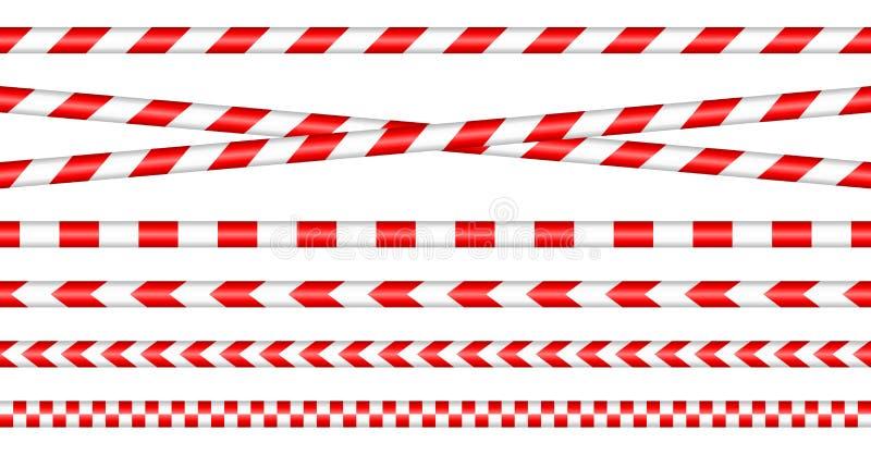 Messo dei nastri della barriera rosso/bianco illustrazione di stock