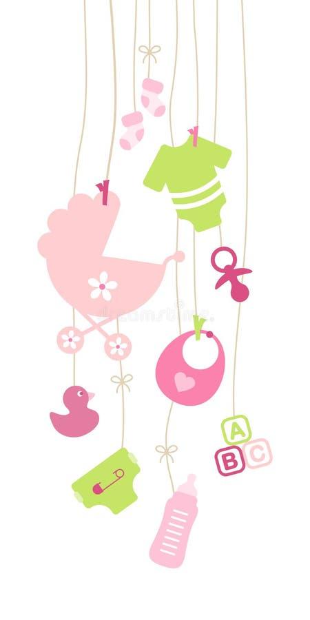 Messo del rosa d'attaccatura della ragazza di nove icone del bambino e verde royalty illustrazione gratis
