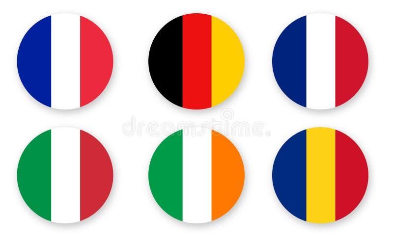 Messo delle bandiere, progettazione grafica di vettore di colore isolate su bianco royalty illustrazione gratis