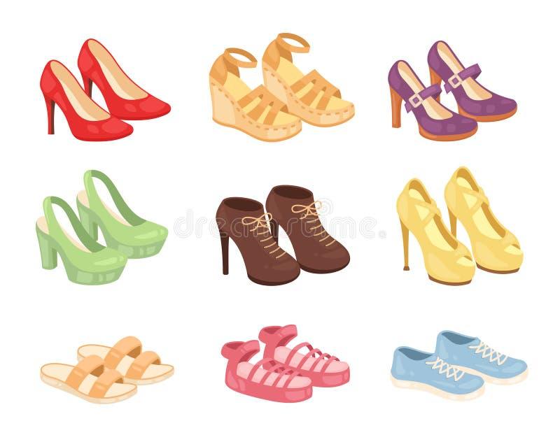 Messo delle icone di vettore delle scarpe della donna isolate su fondo bianco Raccolta di progettazione delle calzature di modo illustrazione di stock
