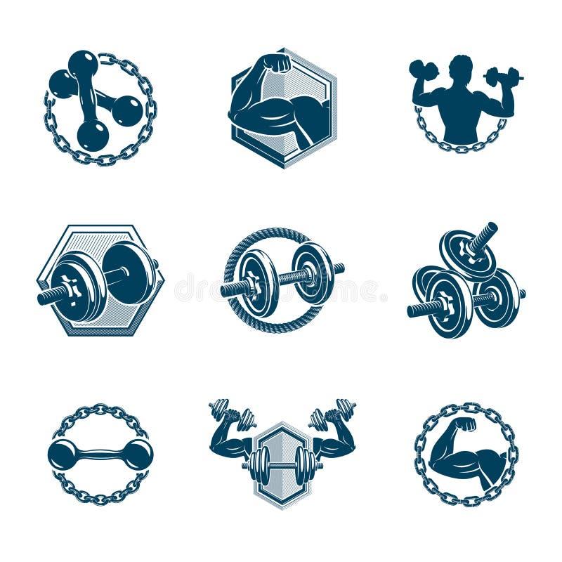 Messo delle illustrazioni di tema della palestra di allenamento e di sollevamento pesi di forma fisica di vettore fatte facendo u illustrazione vettoriale