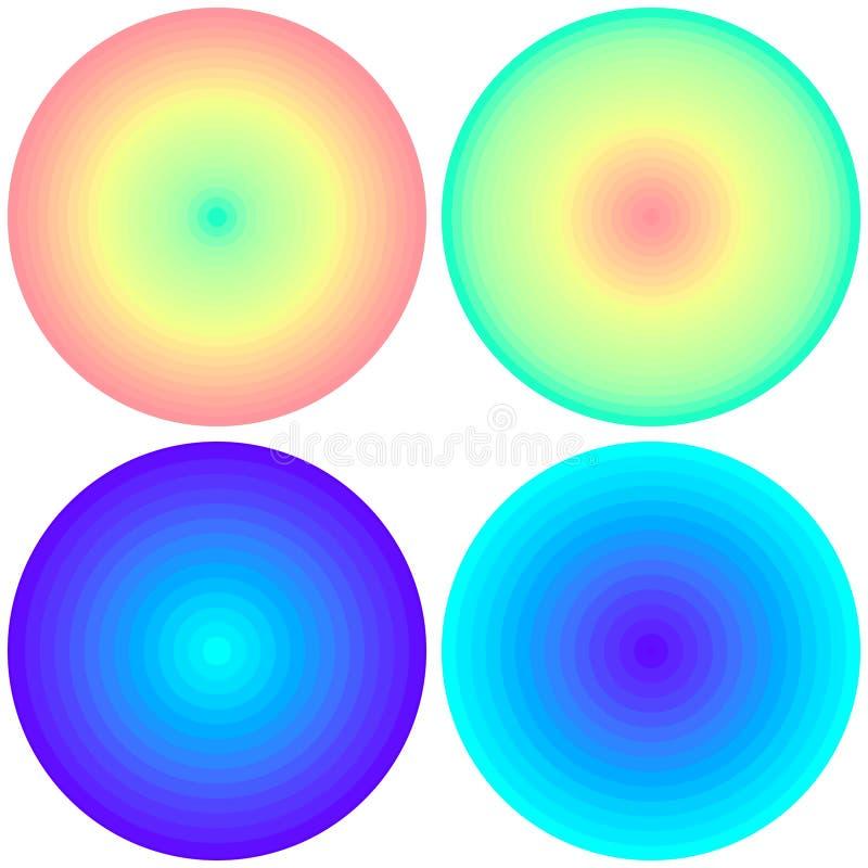 Messo di 4 cerchi radiali iridescenti di pendenza del giusto estratto isolati su fondo bianco E Circl vivo illustrazione vettoriale