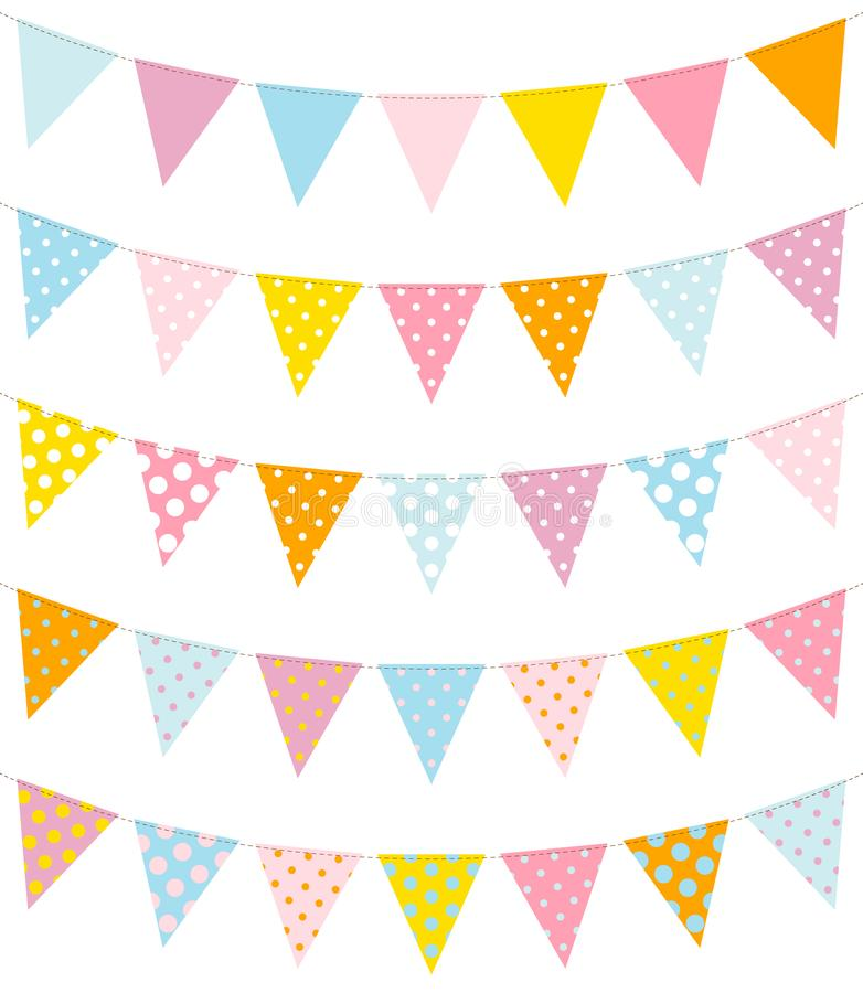 Messo di cinque stamine Dots Pattern Blue Yellow Pink illustrazione vettoriale
