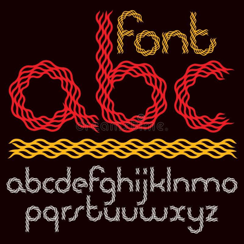 Messo di lettera minuscola di vettore ha arrotondato le lettere dell'alfabeto isolate per creare royalty illustrazione gratis