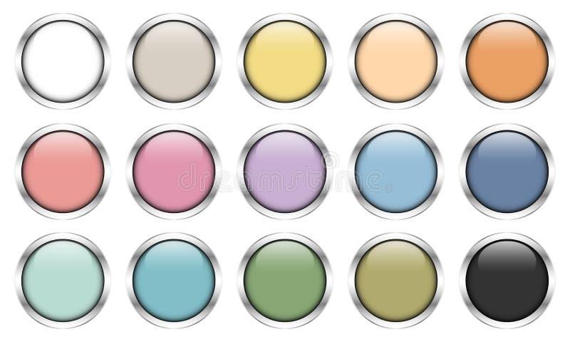Messo di quindici retro colori dei bottoni d'argento lucidi royalty illustrazione gratis