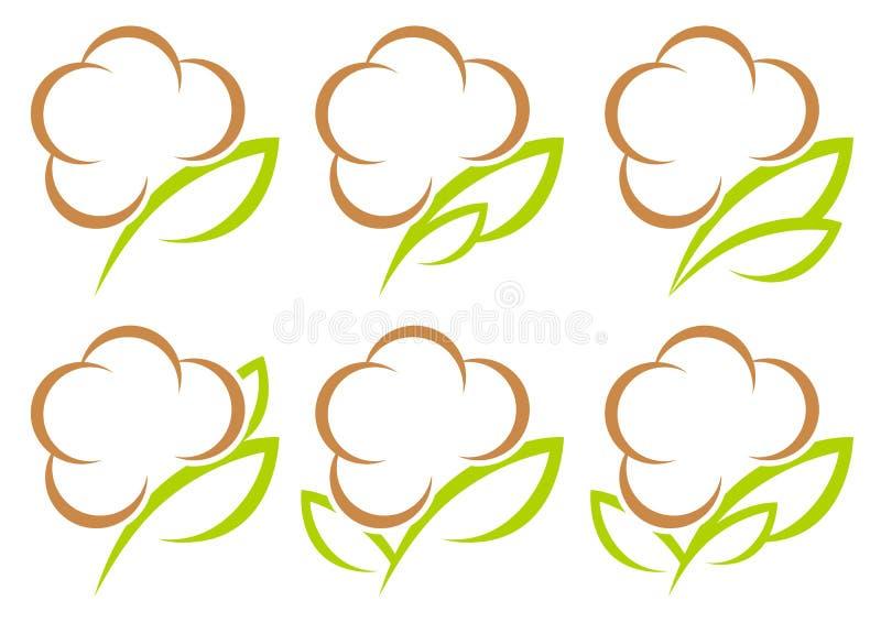 Messo di sei icone grafiche del cotone inverdisca e Browm illustrazione vettoriale