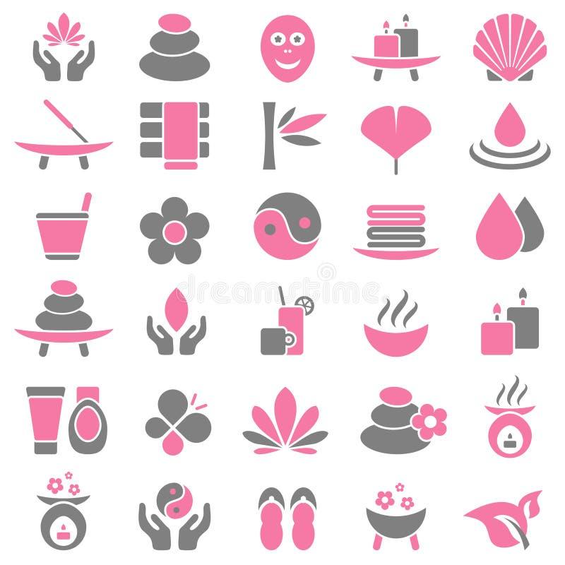Messo di trenta icone di benessere rosa e grigio royalty illustrazione gratis