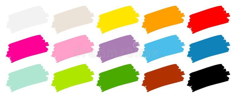 Messo di un colore di quindici pennellate royalty illustrazione gratis