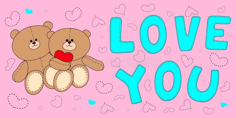 Messo per il giorno di tutti gli amanti l'iscrizione delle stelle degli orsi vi ama royalty illustrazione gratis