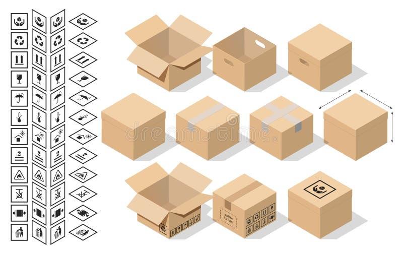 Messo per l'imballaggio nello stile isometrico illustrazione di stock