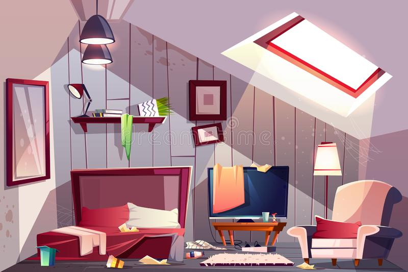 Messy garret bedroom cartoon vector illustration. Messy attic bedroom or guest room on garret interior with scattered clothes, stained walls and spider web in royalty free illustration