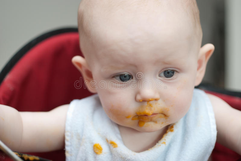 Messy Baby After Eating stock image