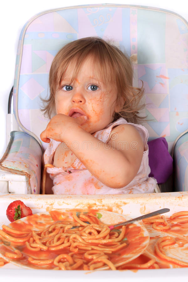 Download Messy Baby Girl Eating Spaghetti Stock Photography - Image: 15507262