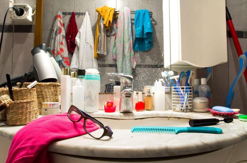 Messy bathroom royalty free stock image