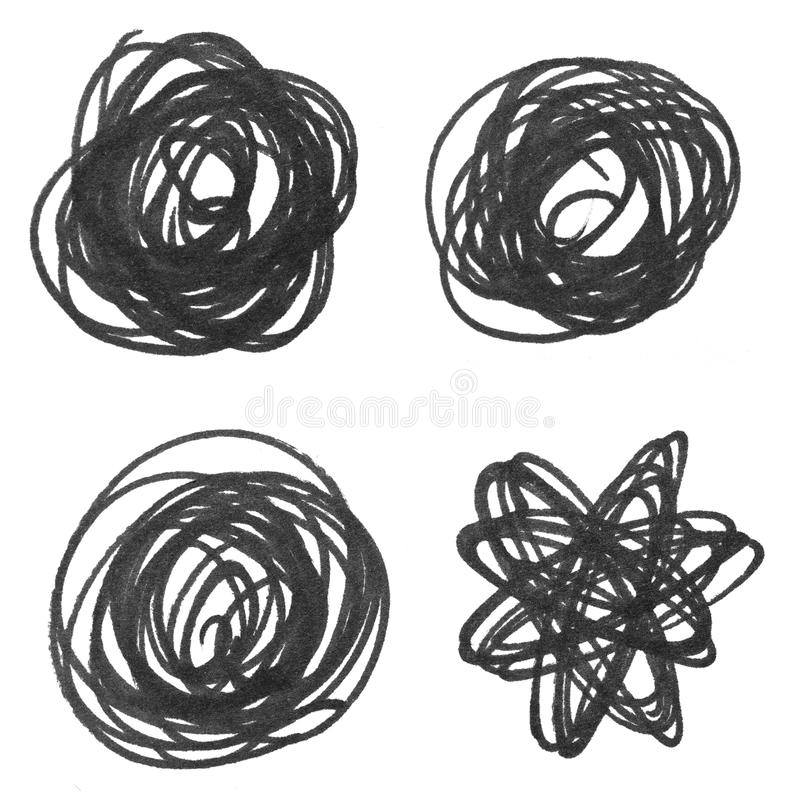 Messy black pen drawing. On white background vector illustration