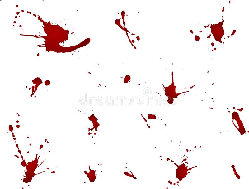 Messy blood blot collection, red drops on white background. Vector illustration, maniac style, isolated.  royalty free illustration