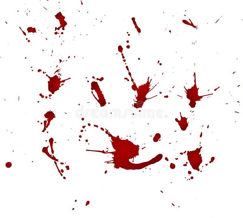 Messy blood blot, red drops on white background. Vector illustration, maniac style. Big splashes. Messy blood blot, red drops on white background. Vector stock illustration