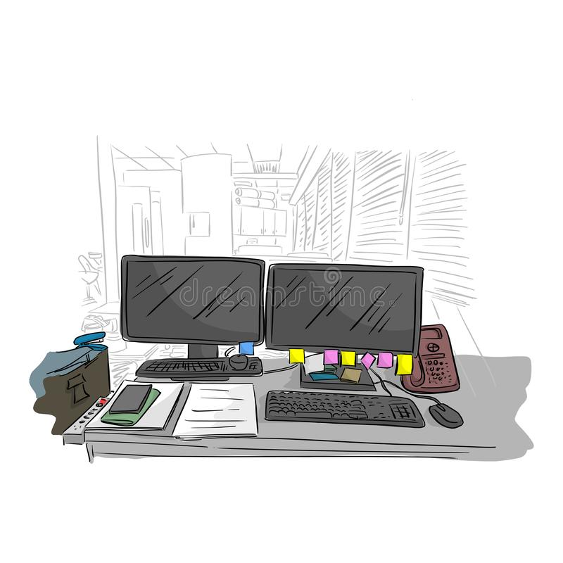 Messy business office desk in the room vector illustration with black lines isolated on white background royalty free illustration