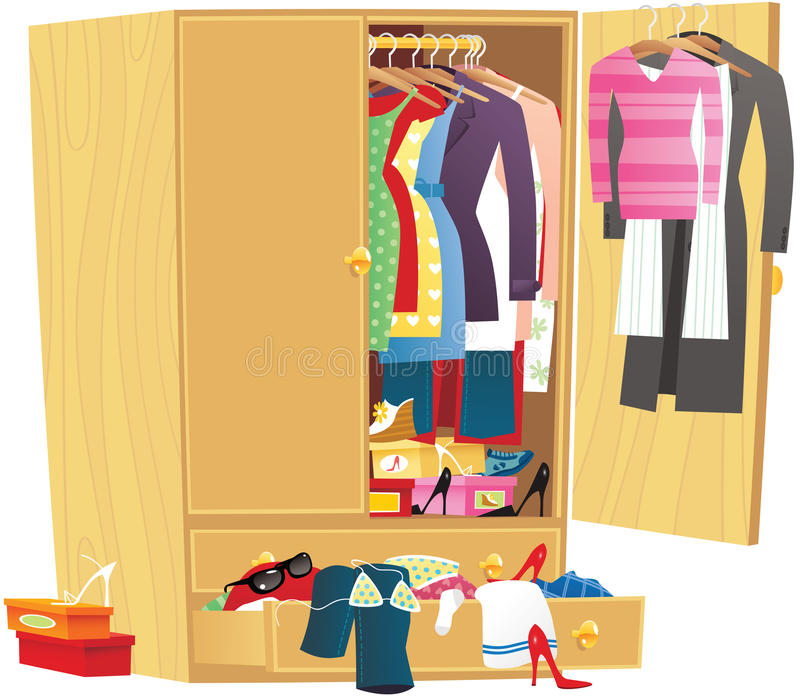 messy clothing wardrobe stock vector illustration of