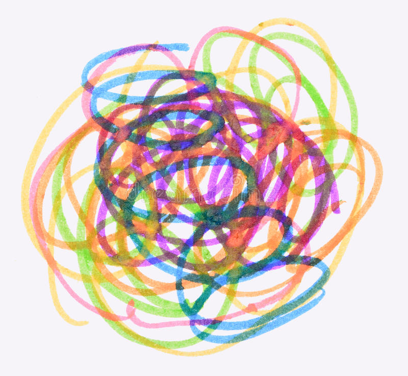 Messy color pen drawing. On white background royalty free illustration