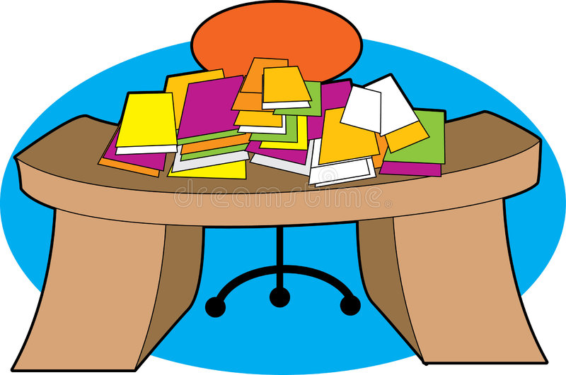 Messy Desk. A desk piled with papers in a mess royalty free illustration