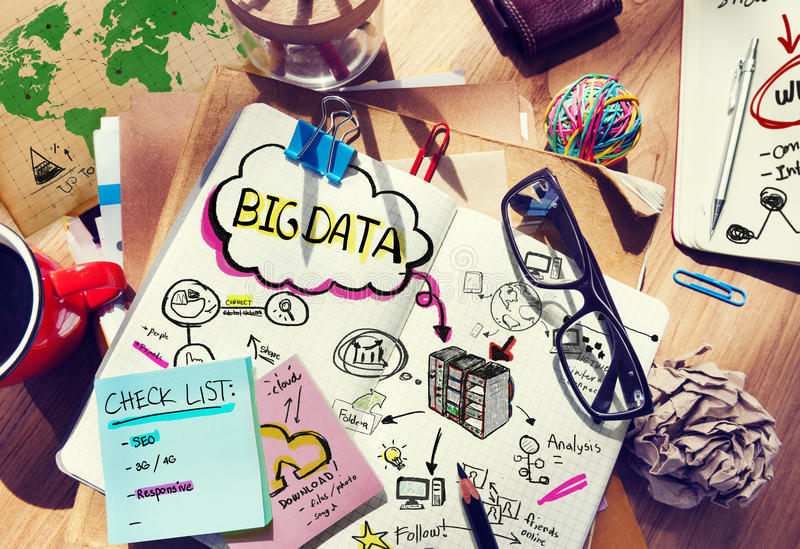 Messy Desk with Big Data Related Notes royalty free stock photos