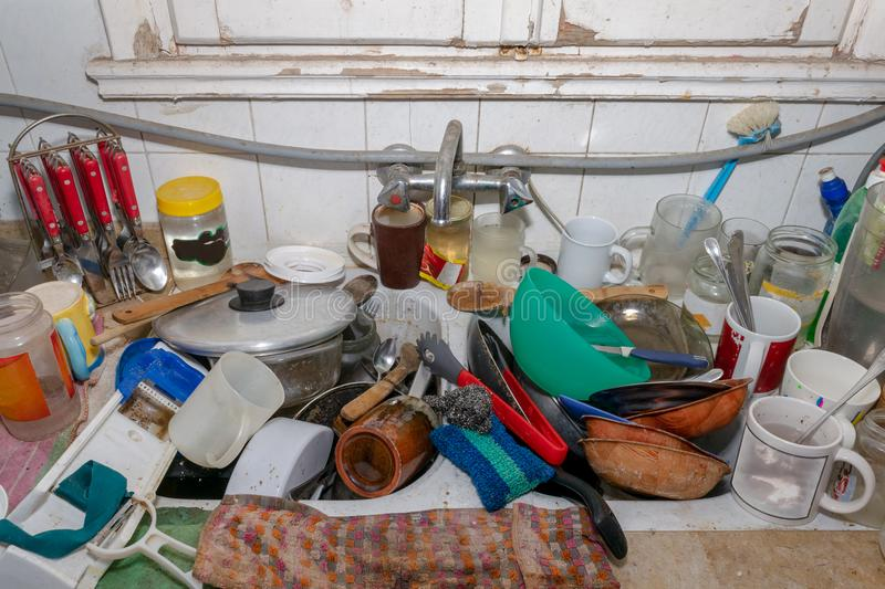 Messy Dirty Kitchen stock image