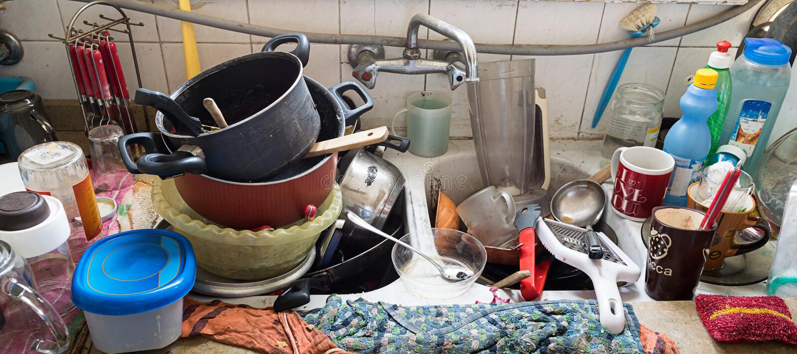 Messy Dirty Kitchen royalty free stock photography