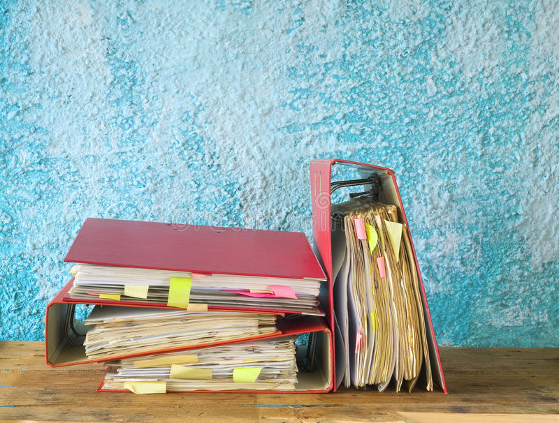 Messy file folders. File folders with messy documents, free copy space royalty free stock images