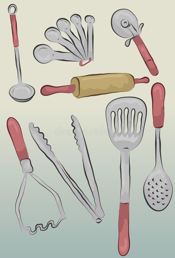 Messy hand drawn kitchen items vector illustration