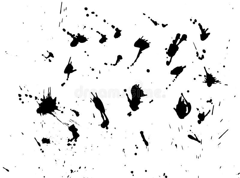 Messy ink blot, black drops on white background. Vector illustration. Big splashes. Messy ink blot, black drops on white background. Vector illustration stock illustration