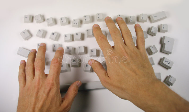 Messy keyboard stock photography