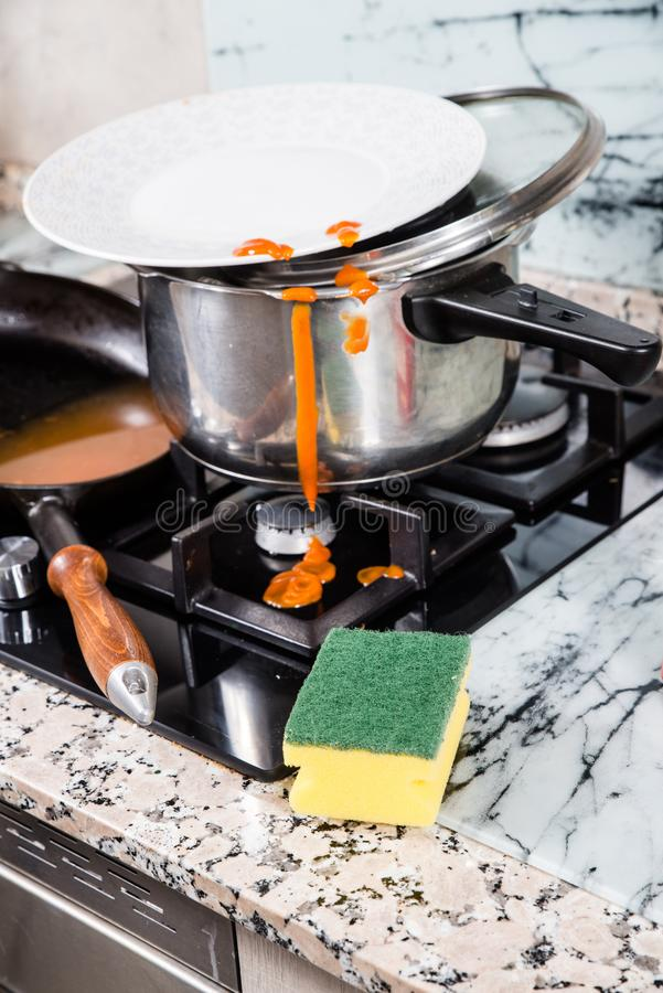 Messy kitchen work top royalty free stock photo