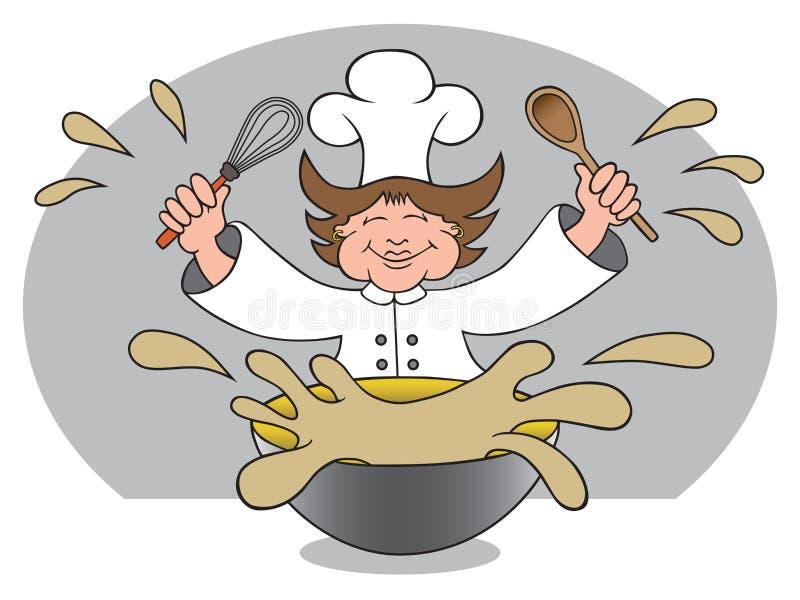 Messy Mom Chef royalty free illustration