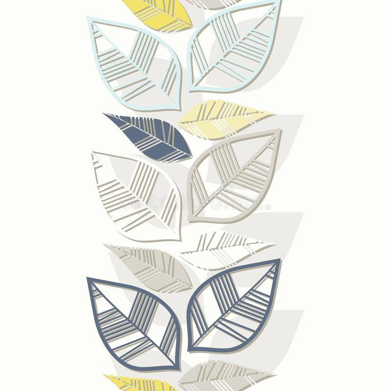 Colorful Retro Leaves Vertical Border Royalty Free Stock Photos