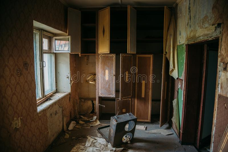 Messy room requiring repair. Abandoned house need to be restored royalty free stock images