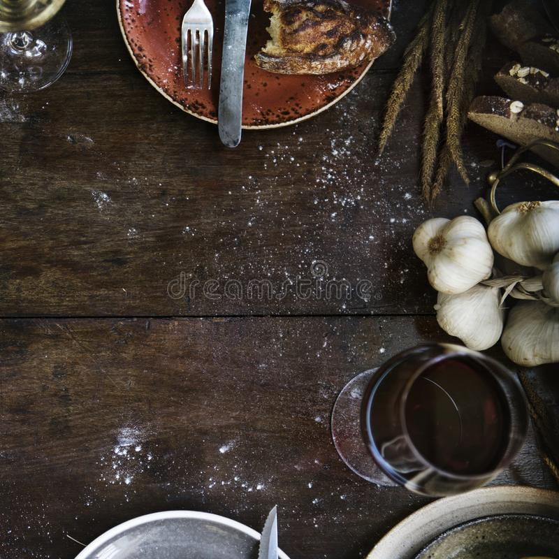 Messy rustic kitchen table mockup royalty free stock photos